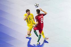 Andrii Khamdamov of Ukraine and Marcio Moreira of Portugal during futsal match between National teams of Ukraine and Portugal at Day 6 of UEFA Futsal EURO 2018, on February 4, 2018 in Arena Stozice, Ljubljana, Slovenia. Photo by Urban Urbanc / Sportida