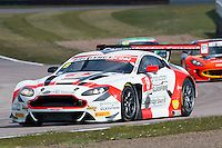 Phil Dryburgh (GBR) / Ross Wylie (GBR)  #8 Motorbase Performance  Aston Martin V12 Vantage GT3  Aston Martin 6.0L V12,   British GT Championship at Rockingham, Corby, Northamptonshire, United Kingdom. April 30 2016. World Copyright Peter Taylor/PSP.