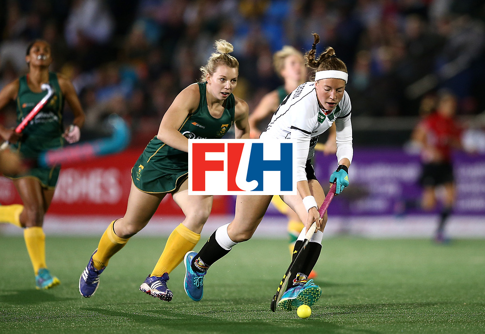 JOHANNESBURG, SOUTH AFRICA - JULY 18:  Teresa Martin Pelegrina of Germany controls the ball from Nicole Walraven of South Africa during day 6 of the FIH Hockey World League Women's Semi Finals quarter final match between Germany and South Africa at Wits Univesity on July 18, 2017 in Johannesburg, South Africa.  (Photo by Jan Kruger/Getty Images for FIH)