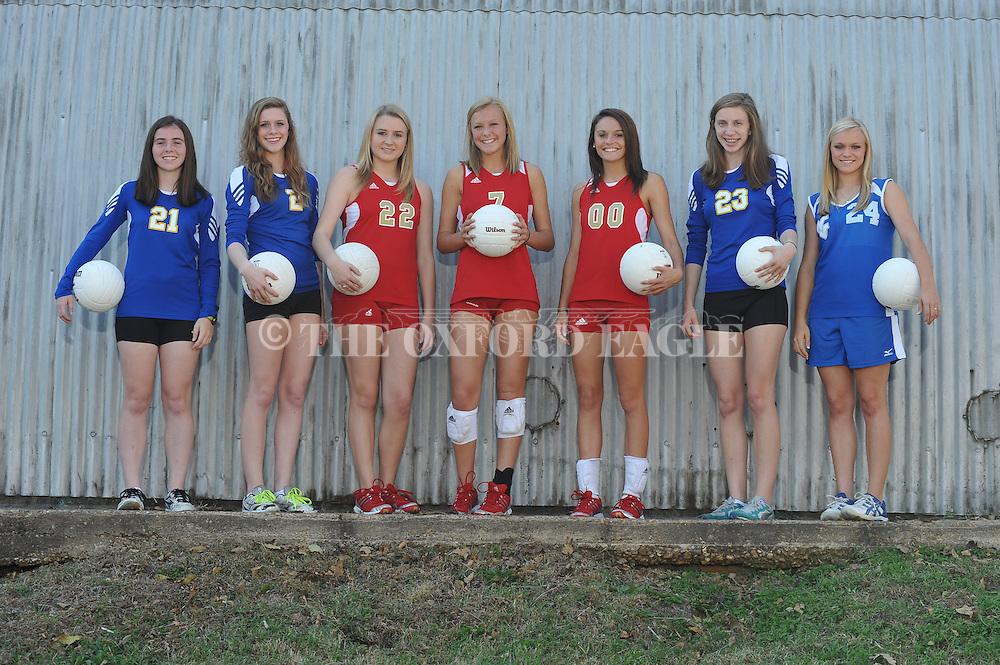 The Oxford Eagle's All-Area Volleyball Team for 2012 is Player of the Year Jessica Pearson (21) of Oxford High; Emily Mims (2) of Oxford High; Holly Robinson (22) of Lafayette High; Rae Drewrey (7) of Lafayette High; Kendall Glass (00) of Lafayette High; Sara Mims (23) of Oxford High, and Shade Epes (24) of Water Valley High; in Oxford, Miss. on Wednesday, October 24, 2012.