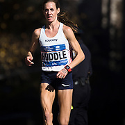 NYTRUN - NOV. 6, 2016 - NEW YORK - Molly Huddle of the United States, making her marathon debut, runs south along 5th Avenue, just north of E 90th Street, as she competes in the 2016 TCS New York City Marathon on Sunday. She finished third in 2:28:13. NYTCREDIT:  Karsten Moran for The New York Times **PLS CHECK FINISH PLACE AND TIMES