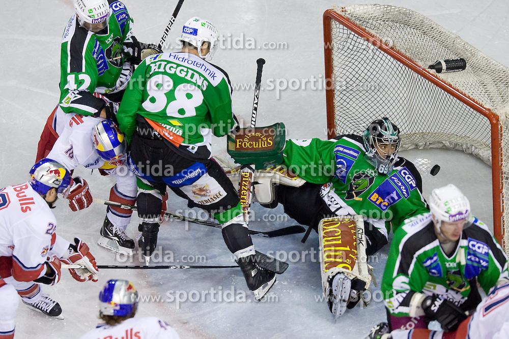 Matija Pintaric (HDD Tilia Olimpija, #69) during ice-hockey match between HDD Tilia Olimpija and EC Red Bull Salzburg in 13th Round of EBEL league, on October 17, 2010 at Hala Tivoli, Ljubljana, Slovenia. (Photo By Matic Klansek Velej / Sportida.com)