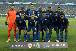 September 11, 2018 - Nashville, TN, U.S. - NASHVILLE, TN - SEPTEMBER 11:  The USA starting lineup for the game between the United States National team and the Mexico National team on September 11, 2018 at Nissan Stadium in Nashville, Tennessee. (Photo by Michael Wade/Icon Sportswire) (Credit Image: © Michael Wade/Icon SMI via ZUMA Press)