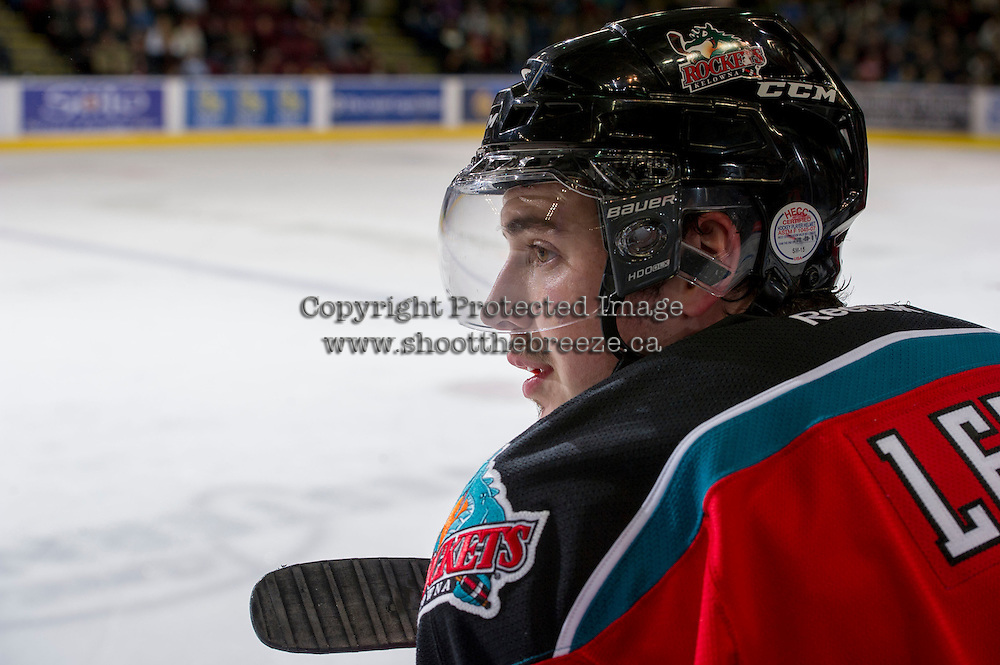 KELOWNA, CANADA - NOVEMBER 30: Jesse Lees #2 of the Kelowna Rockets stands on the bench opposite the  Moose Jaw Warriors at the Kelowna Rockets on November 30, 2012 at Prospera Place in Kelowna, British Columbia, Canada (Photo by Marissa Baecker/Getty Images) *** Local Caption ***