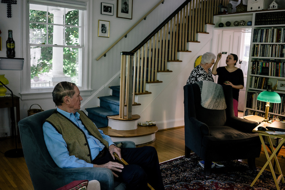 WASHINGTON, DC - MAY 12 William Christenberry rests at home with his wife Sherry and daughter in NW Washington, D.C. on May 12, 2015. (Photo by Greg Kahn/GRAIN for The Washington Post)