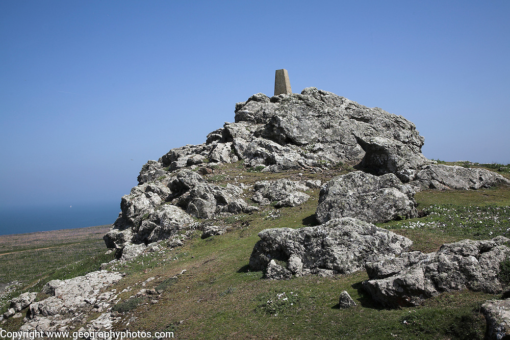 Trig point Skomer Island, Pembrokeshire, Wales