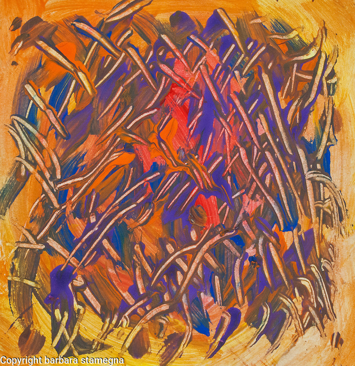 Dominant purple and orange abstract image with shades, spots of color and lines in tones of purple, red, yellow and orange colors, with nuances.