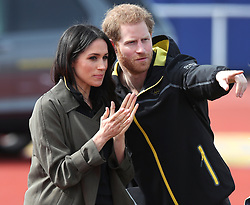 Prince Harry and Ms Meghan Markle attend the UK Team Invictus Games trials held at Bath University Sports training village in Somerset. Prince Harry and Ms Meghan Markle joined wounded, injured and sick military personnel and veterans who are trying out for a place on the UK team at the Invictus Games Sydney 2018 <br />