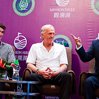 HAIKOU, CHINA - OCTOBER 27:  (L-R) Multiple Olympic gold medalist Michael Phelps of USA, golf legend Greg Norman of Australia, Dr. Ken Chu, Vice Chairman of Mission Hills Group laugh during the opening press conference of the Mission Hills Star Trophy on October 27, 2010 in Haikou, China. The Mission Hills Star Trophy is Asia's leading leisure liflestyle event and features Hollywood celebrities and international golf stars.  Photo by Victor Fraile / studioEAST