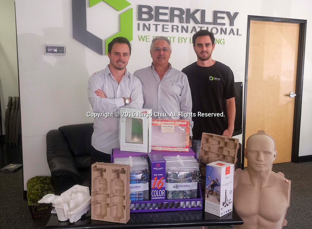 Left to right Eric Berkley, cofounder of Berkley International, and his father Jeff and brother Sean.(Photo by Ringo Chiu/PHOTOFORMULA.com)<br /> <br /> Usage Notes: This content is intended for editorial use only. For other uses, additional clearances may be required.