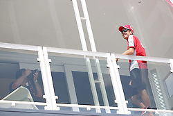 23.07.2015, Hungaroring, Budapest, HUN, FIA, Formel 1, Grand Prix von Ungarn, Vorberichte, im Bild Sebastian Vettel (Scuderia Ferrari) auf dem Dach des Team Motorhome // during the preperation of the Hungarian Formula One Grand Prix at the Hungaroring in Budapest, Hungary on 2015/07/23. EXPA Pictures © 2015, PhotoCredit: EXPA/ Eibner-Pressefoto/ Bermel<br /> <br /> *****ATTENTION - OUT of GER*****