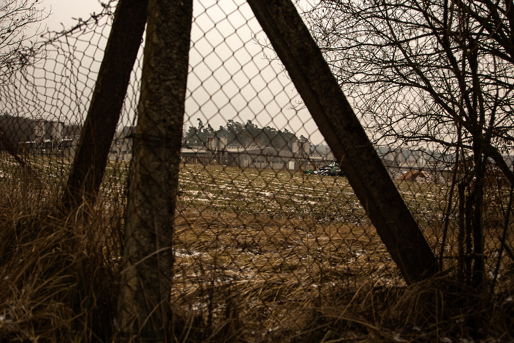 View of the pig farm on the site of the Roma internment camp at Lety, Czech Republic.