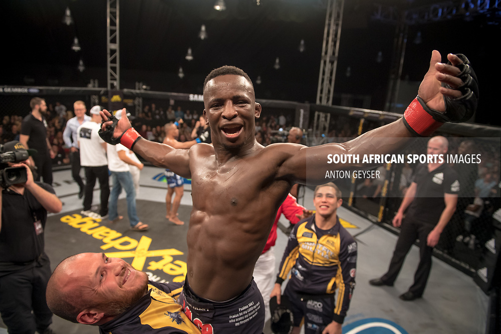 DURBAN, SOUTH AFRICA - JUNE 10: Bokang Masunyane from South Africa celebrates after defeating Abdul Hassan from South Africa during the EFC 60 Fight Night at Sibaya Casino on June 10, 2017 in Durban, South Africa. (Photo by Anton Geyser/EFC Worldwide/Gallo Images)