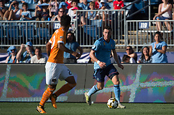 September 23, 2017 - East Hartford, Connecticut, U.S - New York City FC midfielder JACK HARRISON (11) looks to cross the ball during a game at Pratt & Whitney Stadium at Rentschler Field, East Hartford, CT.  New York City FC draw with the Houston Dynamo 1 to 1 (Credit Image: © Mark Smith via ZUMA Wire)