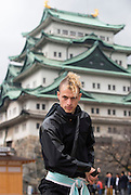 """Chris  """"Sora"""" O'Neil poses for a photo in the grounds of Nagoya Castle, Aichi Prefecture Japan on Feb. 23, 2017. O'Neil is one of the eight ninja corps who roam the avenues of the castle and Nagoya Airport, jumping from behind trees and bushes to surprise visitors. ROB GILHOOLY PHOTO"""