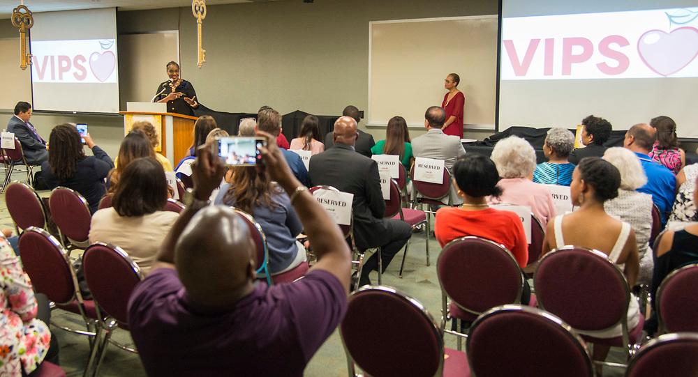 Houston ISD Trustee Wanda Adams comments during a Volunteers in Public Schools VIPS award ceremony, April 13, 2017.