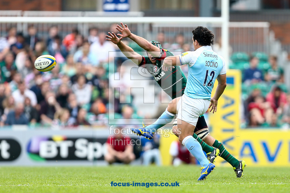 Juan Pablo Socino of Newcastle Falcons (right) chips the Tigers defence during the Aviva Premiership match at Welford Road, Leicester<br /> Picture by Andy Kearns/Focus Images Ltd 0781 864 4264<br /> 06/09/2014