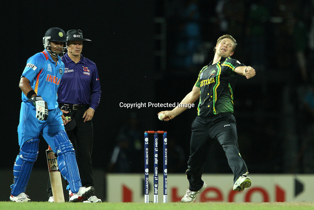Shane Watson bowls during the ICC World Twenty20 Super 8s match between Australia and India held at the Premadasa Stadium in Colombo, Sri Lanka on the 28th September 2012<br /> <br /> Photo by Ron Gaunt/SPORTZPICS