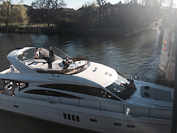 """© Licensed to London News Pictures. 16/03/2014. Richmond, UK The pleasure cruiser """"The Victoria"""" crashes into Richmond Bridge in surrey today 16th March. There was considerable damage to the vessel. The boat eventually made it through the bridge to cheers from crowds who were enjoying the sunny weather along the River Thames. . Photo credit : Lesley-Anne Berthon/LNP"""