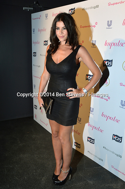 Image ©Licensed to i-Images Picture Agency. 10/06/2014.<br /> <br /> Pictured is Imogen Thomas arriving at the party.<br /> <br /> Superdrug 50th Anniversary Party at The Bankside Vaults, Southbank, London, UK.<br /> <br /> Tuesday 10th of June 2014<br /> Picture by Ben Stevens / i-Images