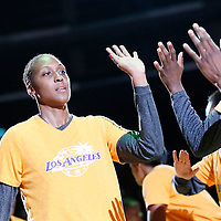03 August 2014:  Los Angeles Sparks forward/center Sandrine Gruda (7) is seen during the players introduction prior to the Los Angeles Sparks 70-69 victory over the Connecticut Sun, at the Staples Center, Los Angeles, California, USA.