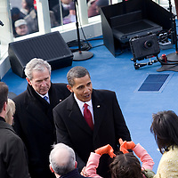 President Barack Obama and Former President George W. Bush after his Inauguration as 44th President of the United States of America. US Capitol, Washington, DC. 1/20/09. Photo by Lisa Quinones/Black Star.