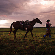 Cowboy Karole Kirkpatrick walks his horse on the Bar B ranch near Albia, Iowa, on the morning of a cattle roundup where 50 spring calves would be vaccinated and branded as part of a twice yearly operation.  Ranch owner Catherine Bay runs the 2,000 herd operation that she inherited from her father.