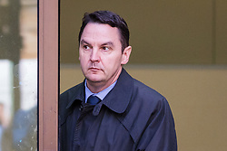 """© Licensed to London News Pictures. 26/09/2019. London, UK. Daren Timson-Hunt leaves Westminster Magistrates court after appearing for sentencing. Timson-Hunt, a trained barrister and director of a primary school academy will be sentenced today after admitting """"up skirting"""" a female passenger on the Northern Line at Embankment station in London. Photo credit: Vickie Flores/LNP"""