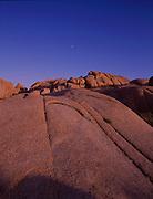 Moon and rocks, Joshua Tree National Park, California