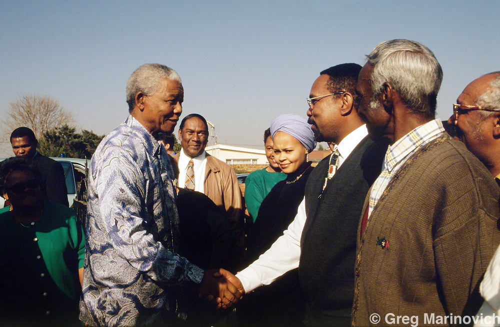 Northern Cape, South Africa 1994: Nelson Mandela greets residents at a pre-election rally ahead of South Africa's first democratic elections in 1994.