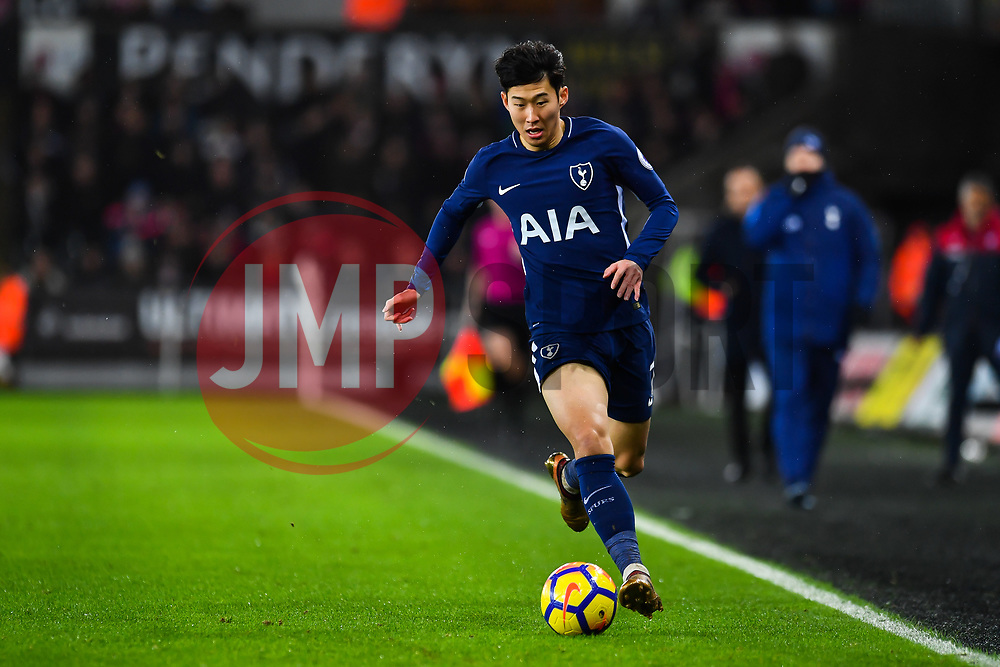 Son Heung-Min of Tottenham Hotspur in action - Mandatory by-line: Craig Thomas/JMP - 02/01/2018 - FOOTBALL - Liberty Stadium - Swansea, England - Swansea City v Tottenham Hotspur - Premier League