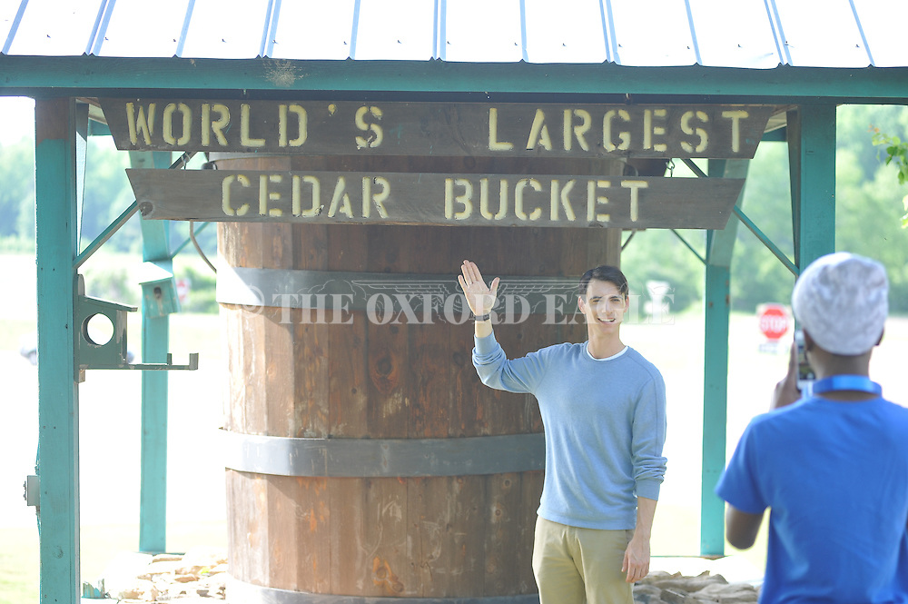 Actor Harry Lloyd (left) and Stephon Hunter rehearse for the filming of Big Significant Things at the Cedar Bucket near Oxford, Miss. on Thursday, May 9, 2013.