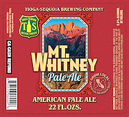 Beer labels for Mt. Whitney Pale Ale by Tioga Sequoia Brewing Company.  The label appeared on bottles, boxes, posters, tee-shirts, etc.  Image used was Mt. Whitney at dawn shot from the Alabama Hills.