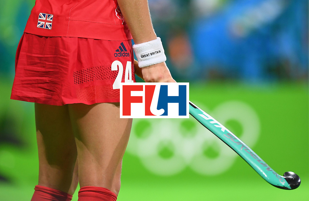 Britain's Shona McCallin waits to play during the women's field hockey India vs Britain match of the Rio 2016 Olympics Games at the Olympic Hockey Centre in Rio de Janeiro on August, 8 2016. / AFP / MANAN VATSYAYANA        (Photo credit should read MANAN VATSYAYANA/AFP/Getty Images)