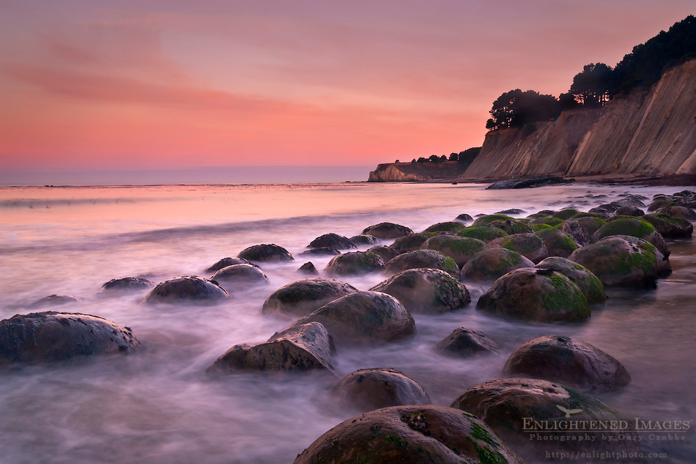 Geological concretions at dawn Bowling Ball Beach; Mendocino County; California