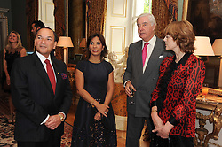 A party to promote the exclusive Puntacana Resort & Club - the Caribbean's Premier Golf & Beach Resort Destination, was held at Spencer House, London on 13th May 2010.<br /> <br /> Picture shows:- Left to right, MR & MRS FRANK RAINIERI,  RUPERT HAMBRO and VIRGINIA FRASER
