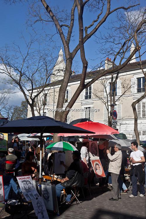 artists and painters  place du tertre in  montmartre Paris  France