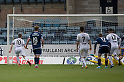 14th September 2019; Dens Park, Dundee, Scotland; Scottish Championship, Dundee Football Club versus Alloa Athletic; Jack Hamilton of Dundee saves a penalty from Alan Trouten of Alloa Athletic in the 50th minute
