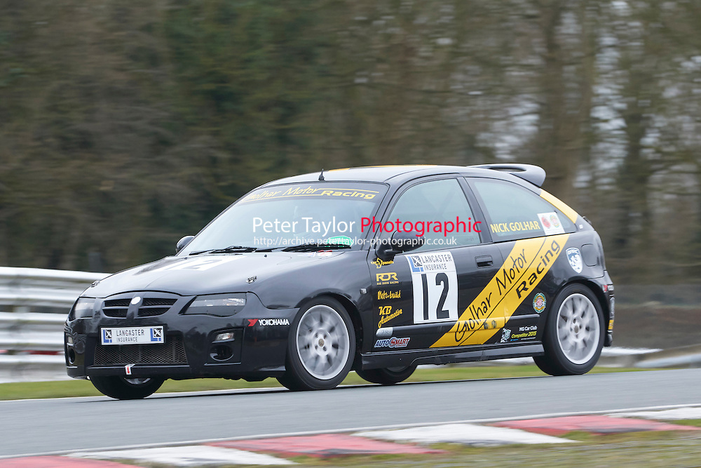 #12 Nick GOLHAR MG ZR 1800 during Lancaster Insurance MG Owners Club Championship as part of the BARC NW - Championship Raceday  at Oulton Park, Little Budworth, Cheshire, United Kingdom. March 19 2016. World Copyright Peter Taylor/PSP. Copy of publication required for printed pictures.  Every used picture is fee-liable. http://archive.petertaylor-photographic.co.uk