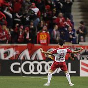 Felipe Martins, (center), New York Red Bulls, celebrates after scoring the first of his two spectacular goals in New York Red Bulls 4-3 win during the New York Red Bulls Vs Houston Dynamo, Major League Soccer regular season match at Red Bull Arena, Harrison, New Jersey. USA. 19th March 2016. Photo Tim Clayton
