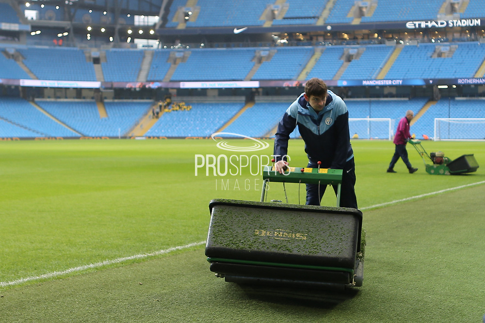 Last minute groundskeeping  during the The FA Cup 3rd round match between Manchester City and Rotherham United at the Etihad Stadium, Manchester, England on 6 January 2019.
