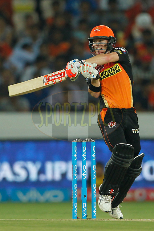Sunrisers Hyderabad captian David Warner bats during match 42 of the Vivo IPL 2016 (Indian Premier League ) between the Sunrisers Hyderabad and the Delhi Daredevils held at the Rajiv Gandhi Intl. Cricket Stadium, Hyderabad on the 12th May 2016<br /> <br /> Photo by Deepak Malik / IPL/ SPORTZPICS