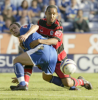 Photo: Aidan Ellis.<br /> Leicester City v Queens Park Rangers. Coca Cola Championship. 15/09/2007.<br /> Leicester's Radostin Kishishev tangles with QPR's Dexter Blackstock