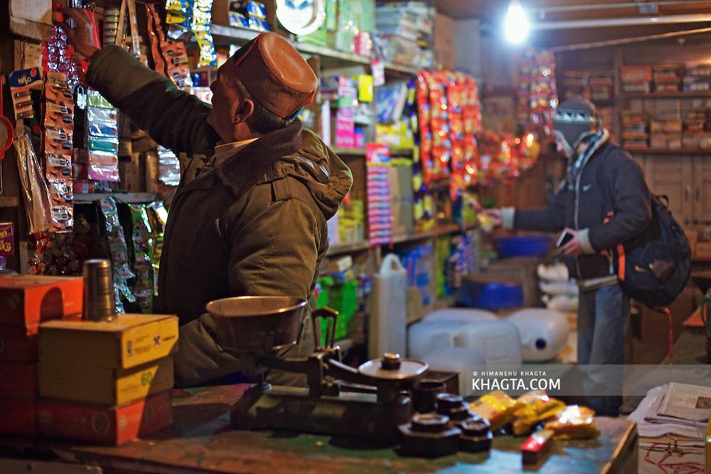 A grocery shop in Sangla, Kinnaur, Himachal Pradesh, India