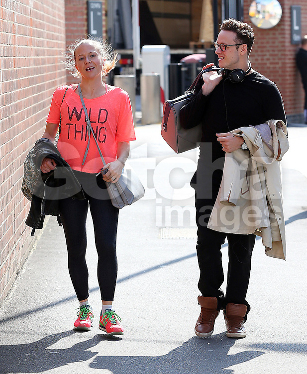 (EXCLUSIVE PICTURES) New Strictly Come Dancing partners EastEnders actress Kellie Bright and professional dancer Kevin Clifton take a break from rehearsals. London, UK. 09/09/2015<br />
