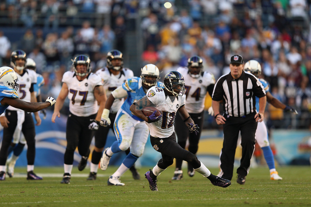 Baltimore Ravens wide receiver Jacoby Jones (12) in action against the San Diego Chargers during an NFL game on Sunday, November 25, 2012 in San Diego, CA.  (Photo by Jed Jacobsohn)