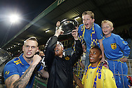 Onderwerp/Subject: Cambuur Leeuwarden - Jupiler League<br /> Reklame:  <br /> Club/Team/Country: <br /> Seizoen/Season: 2012/2013<br /> FOTO/PHOTO: F.L.T.R: Tim KEURNTJES (LL) of Cambuur Leeuwarden and Goalkeeper Leonard NIENHUIS (L) of Cambuur Leeuwarden and Giovanni HIWAT (R) of Cambuur Leeuwarden celebrating with the trophy and young supporters of Cambuur Leeuwarden. (Photo by PICS UNITED)<br /> <br /> Trefwoorden/Keywords: <br /> #02 #18 $94 &plusmn;1367598354739 &plusmn;1367598354739<br /> Photo- &amp; Copyrights &copy; PICS UNITED <br /> P.O. Box 7164 - 5605 BE  EINDHOVEN (THE NETHERLANDS) <br /> Phone +31 (0)40 296 28 00 <br /> Fax +31 (0) 40 248 47 43 <br /> http://www.pics-united.com <br /> e-mail : sales@pics-united.com (If you would like to raise any issues regarding any aspects of products / service of PICS UNITED) or <br /> e-mail : sales@pics-united.com   <br /> <br /> ATTENTIE: <br /> Publicatie ook bij aanbieding door derden is slechts toegestaan na verkregen toestemming van Pics United. <br /> VOLLEDIGE NAAMSVERMELDING IS VERPLICHT! (&copy; PICS UNITED/Naam Fotograaf, zie veld 4 van de bestandsinfo 'credits') <br /> ATTENTION:  <br /> &copy; Pics United. Reproduction/publication of this photo by any parties is only permitted after authorisation is sought and obtained from  PICS UNITED- THE NETHERLANDS