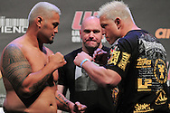"SYDNEY, AUSTRALIA, FEBRUARY 26, 2011: Mark Hunt (left) faces off against opponent Chris Tuchscherer during the weigh-in for ""UFC 127: Penn vs. Fitch"" inside Acer Arena in Sydney, Australia on February 26, 2011"