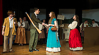 "Jeff Douglas (John Hammond), Tommy Albright (Michael O'Brien ), Fiona MacLaren (Brittney Pond) and Meg Brockie (Emily Paronto) during dress rehearsal for ""Brigadoon"" at Laconia High School Wednesday afternoon.  (Karen Bobotas/for the Laconia Daily Sun)"