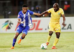 13052018 (Durban) Maritzburg player Pogiso Sanoka tackle with Sandile Zuke Maritzburg United drew 1-1 with Lamontville Golden Arrows in an Absa Premiership match at the Harry Gwala Stadium in Pietermaritzburg on Saturday afternoon.<br /> Picture: Motshwari Mofokeng/African News Agency/ANA